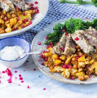 tuna with paprika cauli and chickpeas