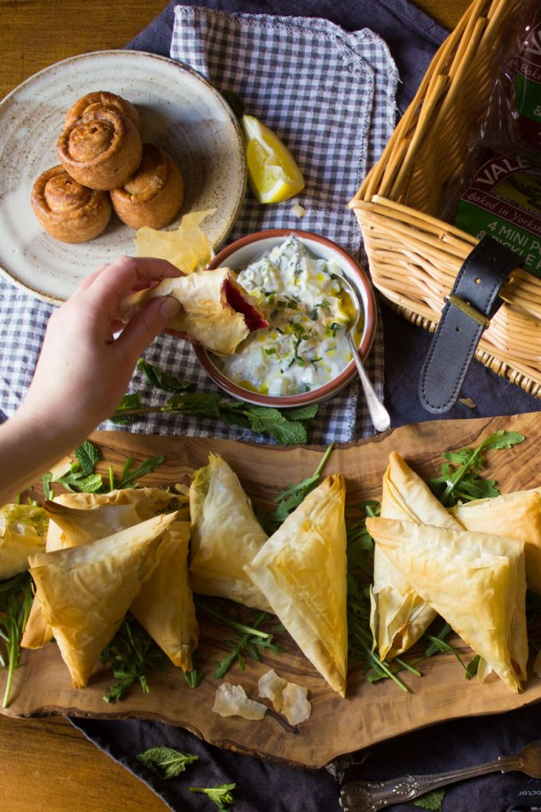 mash filo parcels with mint yogurt dip