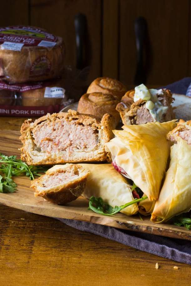 pork pies from vale of mowbray with mash parcels and yogurt dip