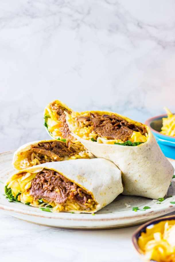 slow cooked beef brisket in a wrap