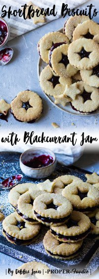 Shortbread biscuits with blackcurrant jam properfoodie