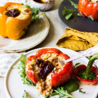 stuffed roasted pepper with couscous cheese sauce