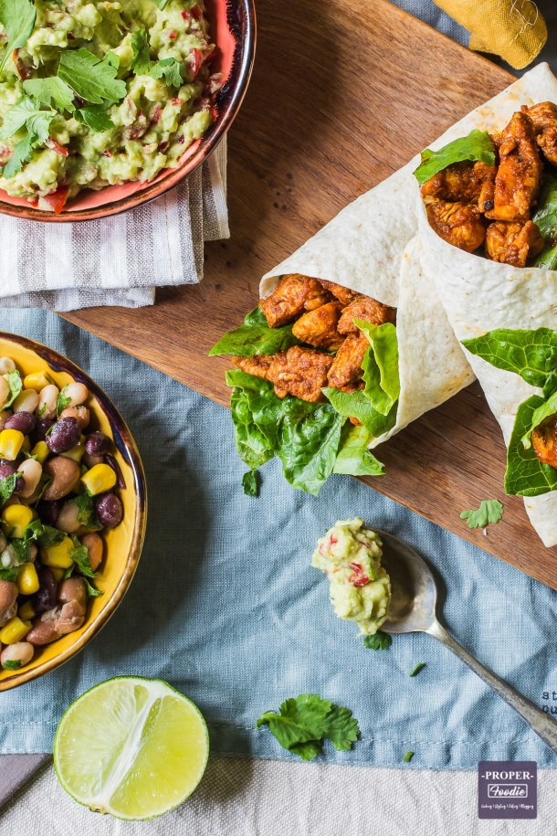 paprika chicken wraps with bean salad and 5 min dip