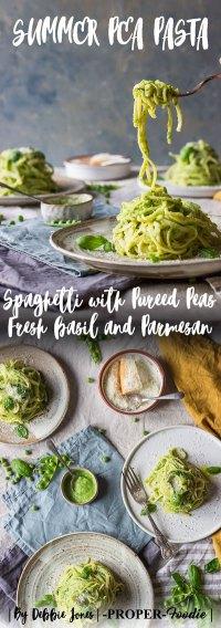 Summer pea pasta spaghetti with pureed peas fresh basil and parmesan