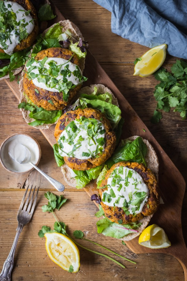 moroccan style spicy sweet potato beef burgers with garlic tahini sauce
