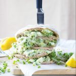 egg and avocado sandwich with yogurt dressing