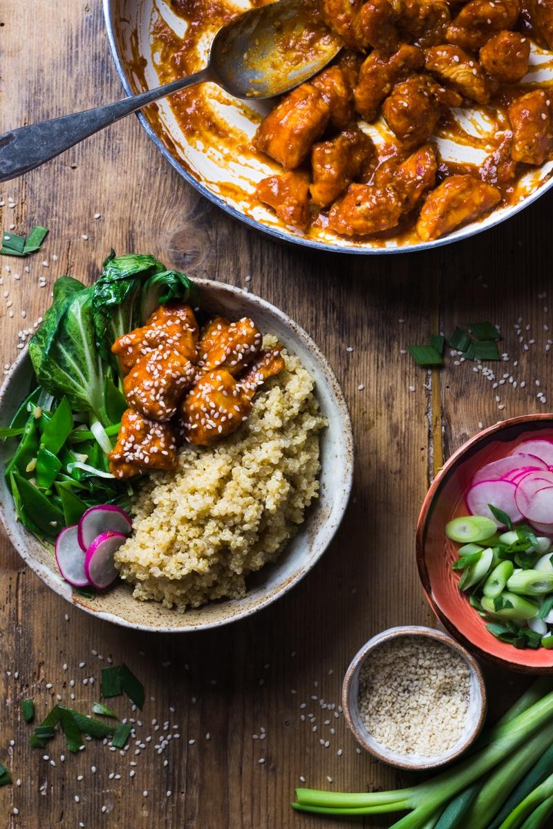 sesame seed chicken recipe with quinoa
