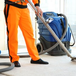 IICRC certified technician cleaning carpet