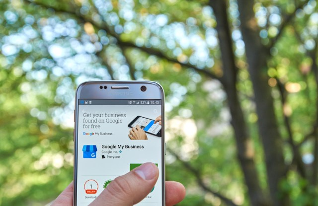 Google My Business for Apartments On Mobile Phone In Nature Setting