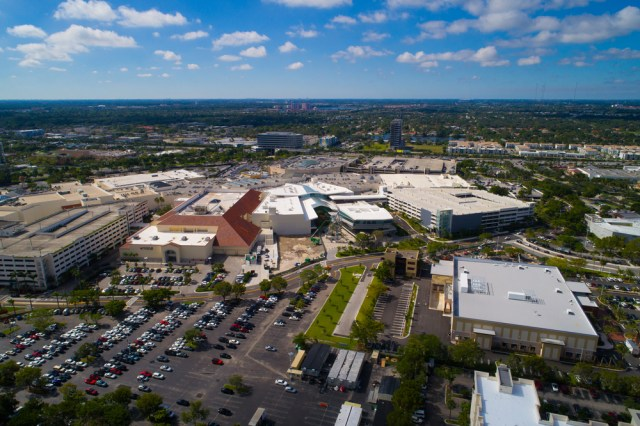 Aerial view of the Aventura Mall one of America's Largest Shopping Malls