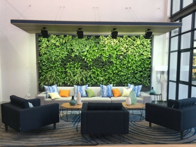 Office Garden Wall Makes Office Lounge Space More Attractive