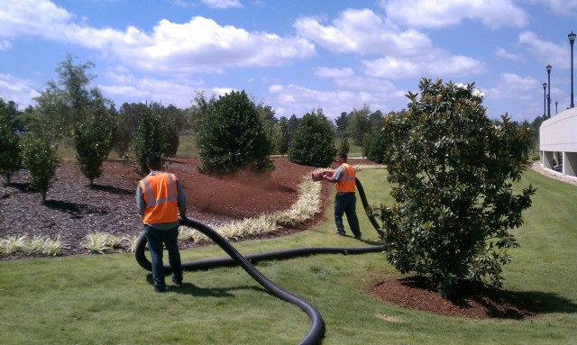 What is mulch blowing at commercial property