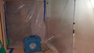 Negative air scrubber captures mold contamination