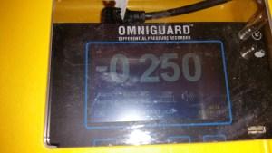 Manometer measuring negative air.