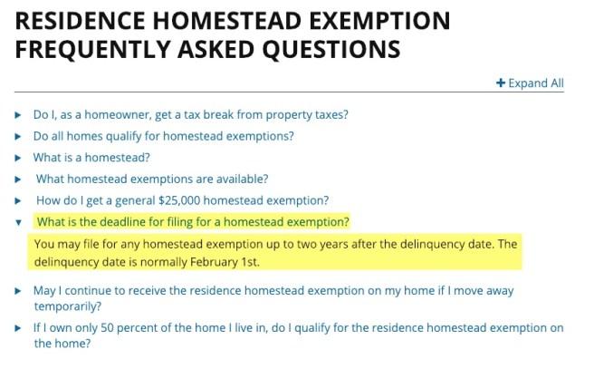 comptroller screenshot homestead deadline