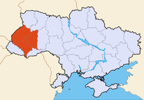 Outlne map of Ukraine with red area designating the location of Galicia