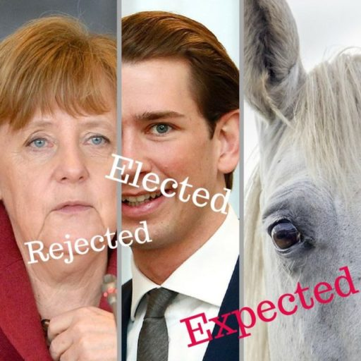 """3 Panels Side by Side. 1. Colored photograph of Angela Merkel with the word """"Rejected"""" across it. 2. Colored photograph of Sebastian Kurz, with the word """"Elected"""" across it. 3. Colored photograph of a white horse's head representing the willful king """"rider of the white horse"""" from Revelation 6 : 2"""