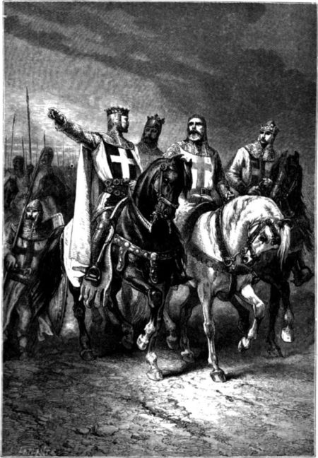 "Black and white illustration of 4 Crusader knights on their horses, leading the Crusader army. ""Burdensome stone"""