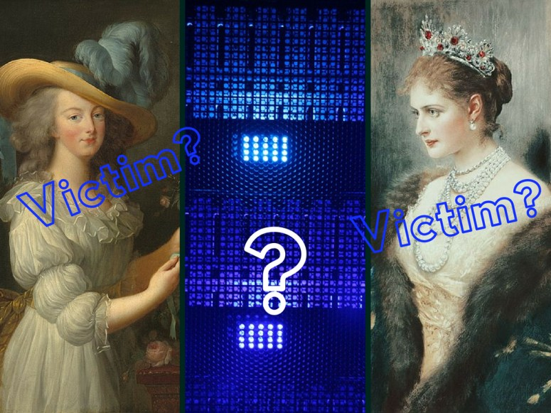 "3 colored photographs in a grid. Portraits of Marie Antoinette and Tsarina Alexandra on either side of colored photograph of a computer server. Text superimposed saying ""Victim?"" on each portrait and a large question mark on the server photograph. Immorality psyop."