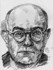 Black and white charcoal sketch of a man, balding and bespectacled. 'Holy Grails' for Christian Youth.