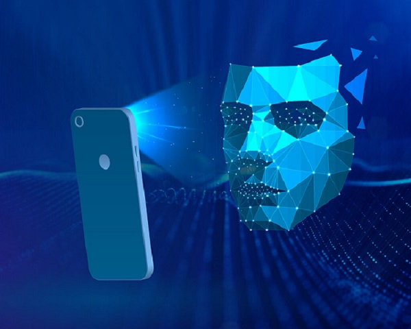Artwork in tones of blue showing a mobile phone  with beams of light shining on a stylized face. Mark from the East.