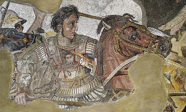 Colored photograph of a mosaic depicting a man in ancient breastplate on a horse and armed with a spear. Relay evangelists.