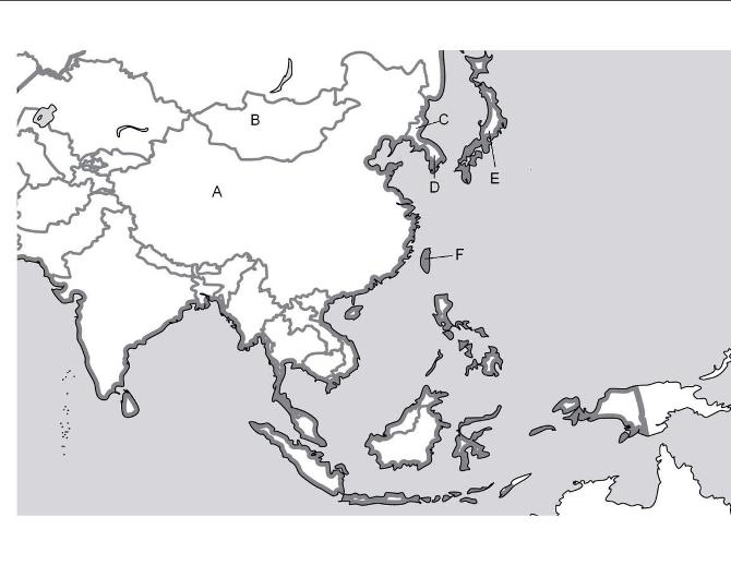 World Geography East Asia Unit 9: Map Quiz (countries