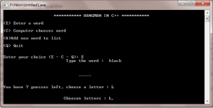 hangman projects in c++