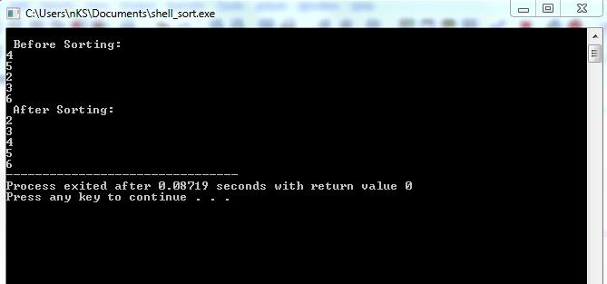 shell sort in c++