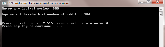 decimal to hexadecimal C++