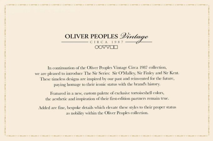 "OLIVER PEOPLES ""the sir series"""