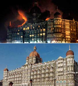 File photos of Mumbai's Taj Mahal Palace Hotel in November 2004 (bottom) and on November 26, 2008 (top) as fire engulfs the top floor after a shootout with terrorists. (AFP PHOTO / PAL PILLAI (top) | AFP PHOTO/Getty Images/SEBASTIAN D'SOUZA (bottom))