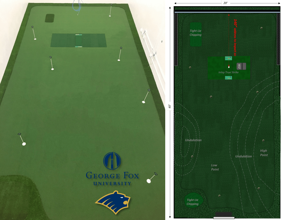 college racketball court conversion to golf room
