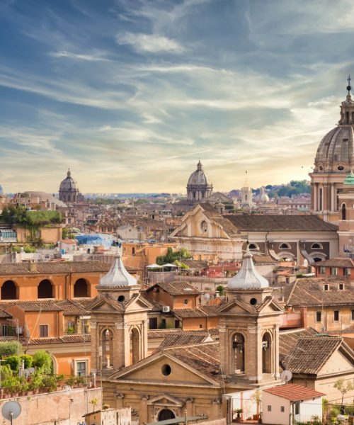 Rome,,Italy-,Circa,August,2020:,Panoramic,Cityscape,With,Sunset,Sky