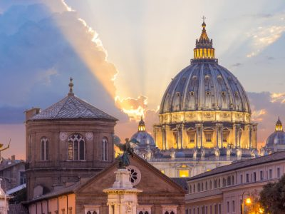 St,Peter's,Basilica,In,Rome,vatican,,The,Dome,At,Sunset,,With