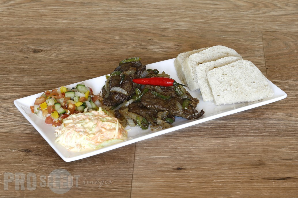 B's Kitchen_Ox Liver served with Mnqusho (samp) or pap or dumpling and veggies