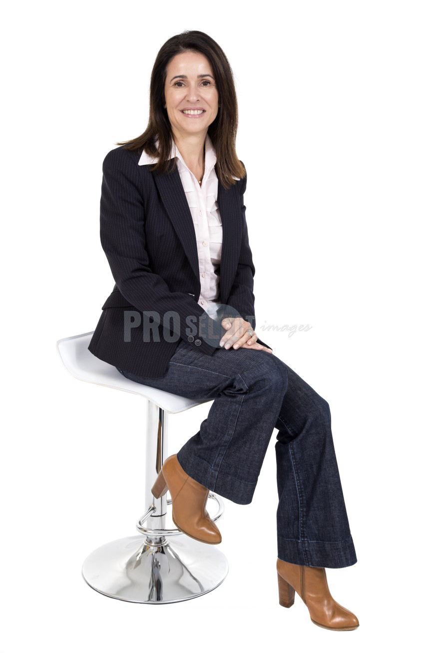Female sitting full body portrait