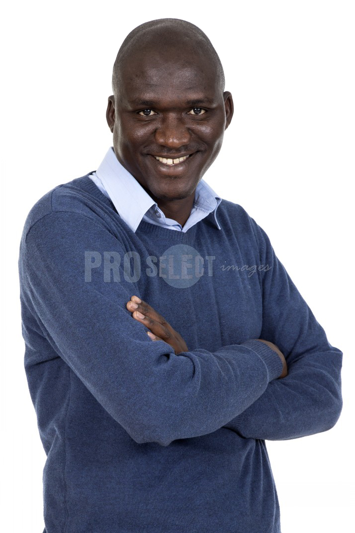 Portrait white background african