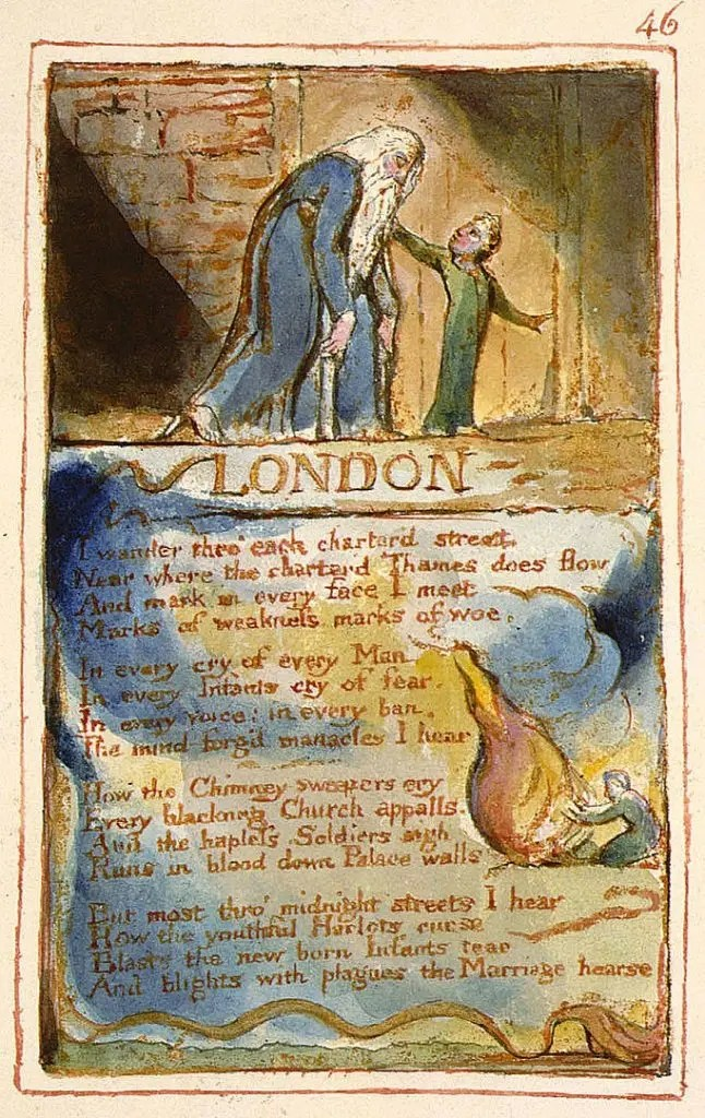 Acrostic poetry form used in William Blake's poem London. The image contains the poem and a print by William Blake.