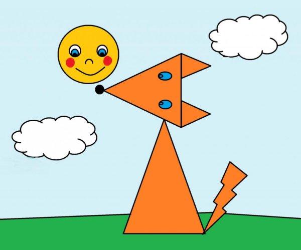 Рисунки из геометрических фигур: скачать картинки животных ...