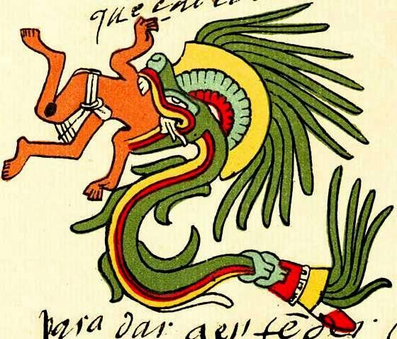 Quetzalcoatl, serpente alato, divora un peccaore.