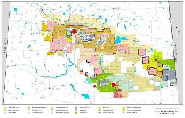 Saskatchewan #potash permits and leases map October 2009 ...