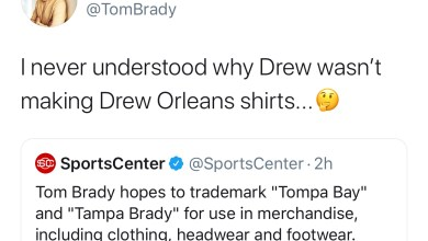 """Photo of Tom Brady To Trademark """"Tompa Bay"""" and """"Tampa Brady"""", Tweets He Never Understood Why Drew Brees Didn't Make Drew Orleans Shirts"""