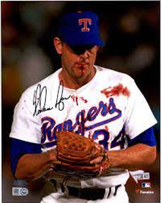 """Nolan Ryan Texas Rangers Autographed 8"""" x 10"""" Bloody Lip Black Ink  Photograph - Autographed MLB Photos at Amazon's Sports Collectibles Store"""
