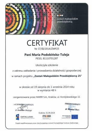 Jestem certyfikowanym przedsiębiorcą....