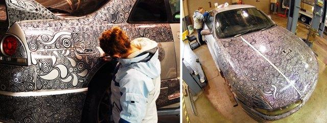 Муж попросил жену закрасить царапину на бампере, утром он был потрясен результатом