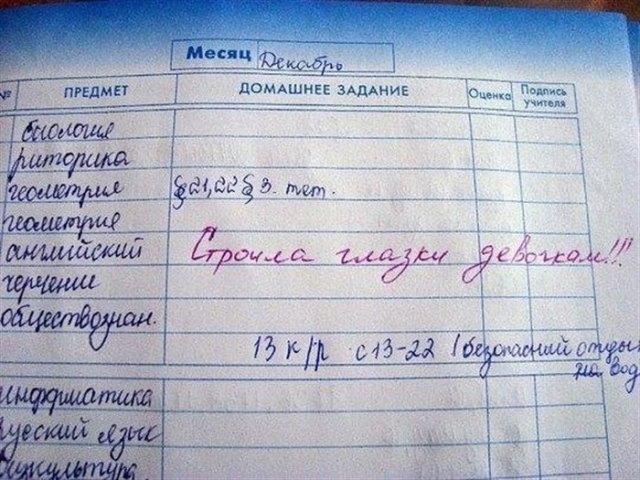15 Юмористических фотографий из школьных дневников