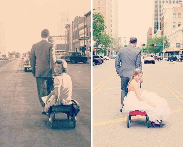 """""""Машина времени"""" Люди в точности воссоздали старые снимки бабушек и дедушек"""