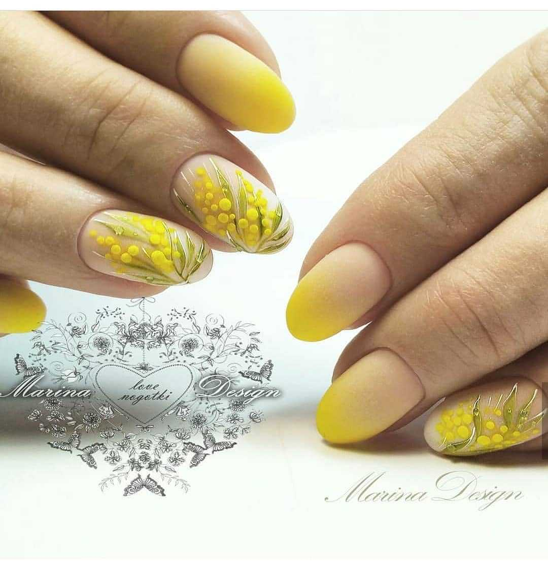 дизайн ногтей желтый цвет 6