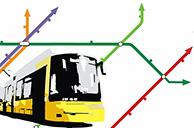 Stilisierte Berliner Straßenbahn vor Netzausbauplan